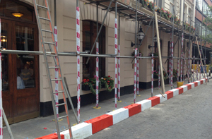 Scaffold alarms in place outside building